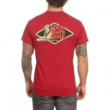 Old Guys Rule Surf Dog Tee Cardinal Red
