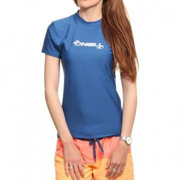 ONeill Womens Basic Skins Rash Tee Deep Sea