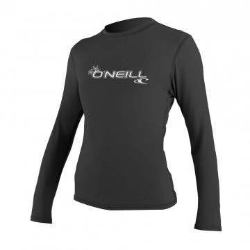 ONeill Womens Basic Skins Long Sleeve Rash Tee Blk