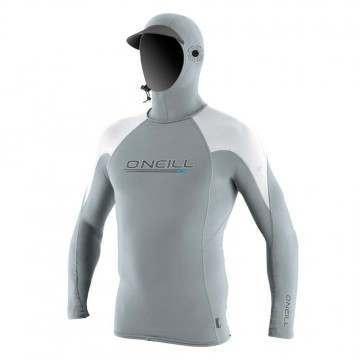 ONeill Ozone Long Sleeve Hooded Rash Vest Coolgrey