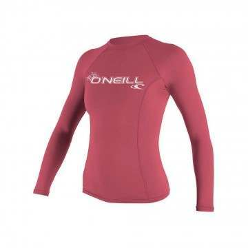 ONeill Womens Basic Long Sleeve Rash Vest Fox Pink