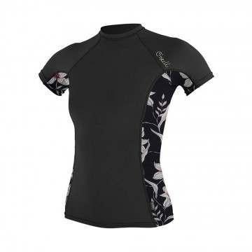ONeill Womens Side Print Short Sleeve Rash Tee Blk