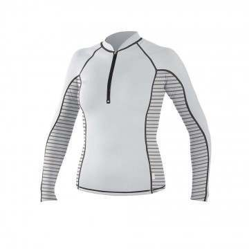 ONeill Womens Zipped Long Sleeve Rash Vest Wht/Stp