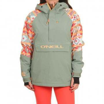 Oneill Original Anorak Snow Jacket Pink AOP/Green