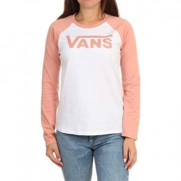 Vans Flying V Raglan Long Sleeve Top White/Rose
